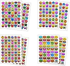 Tea Party Cupcake Sticker Self-Adhesive Glitter Metallic Reflective Foil Decorative Scrapbook for Birthday Party Photo Card Diary Album (ST08-CUPCAKE)