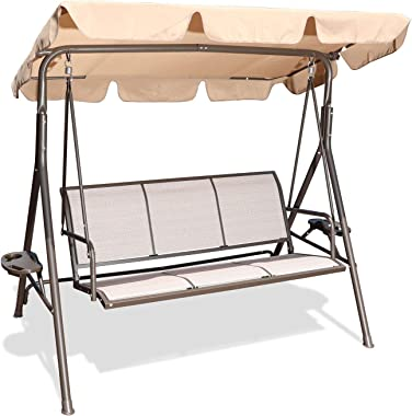 GOLDSUN 3 Person Patio Swing Seat with Adjustable Canopy, All Weather Resistant Hammock Swing Chair Bench for Patio, Garden,