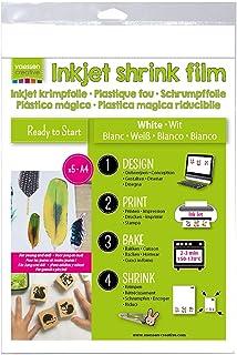 Vaessen Creative Plástico Mágico Imprimible, Blanco, 5 Hojas, Tamaño 21 x 30 cm, Imprime Directamente Diseños Personalizados para Proyectos Divertidos de Arte y Manualidades, Multicolor