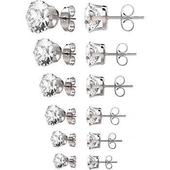 UHIBROS Womens Stainless Steel Stud Earrings Set Hypoallergenic Pierced Cubic Zirconia 18K White Gold pated 6 Pairs 3-8mm