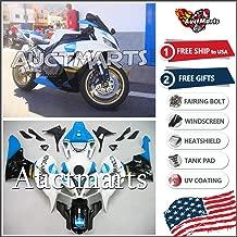 Auctmarts Injection Fairing Kit ABS Plastics Bodywork with FREE Bolt Kit for Honda CBR1000RR CBR 1000 RR 2006 2007 White Blue Cyan Black Konica Minolta (P/N:1e10)