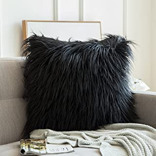 MIULEE Decorative New Luxury Series Style Faux Fur Throw Pillow Case Cushion Cover for Sofa Bedroom Car 22 x 22 Inch Black