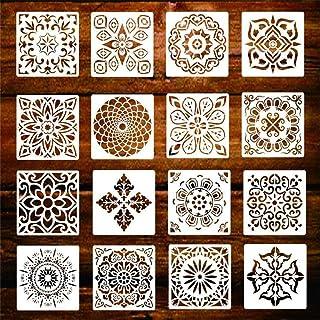 Lot de 16 pochoirs réutilisables Mandala pour mur, meubles, sol, fenêtre, pierres, tissu, carrelage et scrapbooking