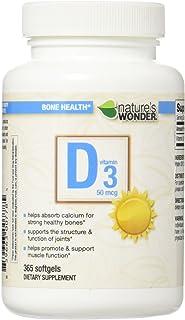 Nature's Wonder Vitamin D3 50mcg (2000IU) Soft Gels, 365 Count
