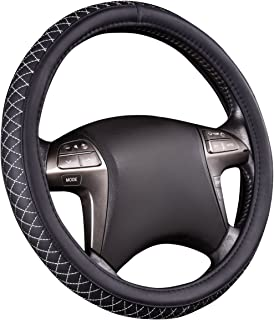 NEW ARRIVAL- HORSE KINGDOM Genuine Leather Universal Steering Wheel Cover Breathable Fit Car Truck SUV Air-mesh Non-slip Line (black with white)