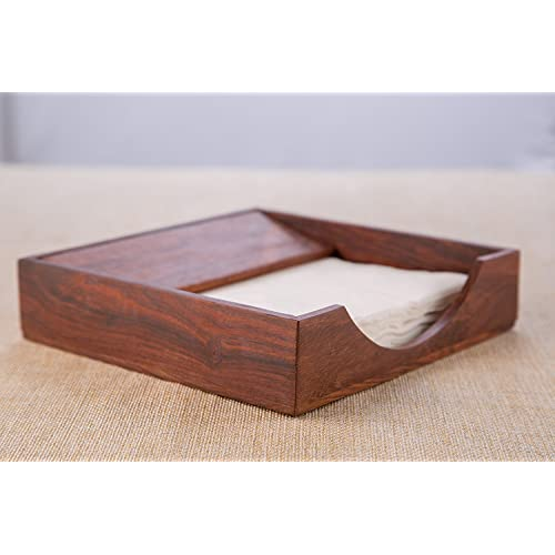 BATRA ASSOCIATES S.b.Arts Sheesham Wood Tissue and Napkin Holder, 7x7x2-inch (Brown)