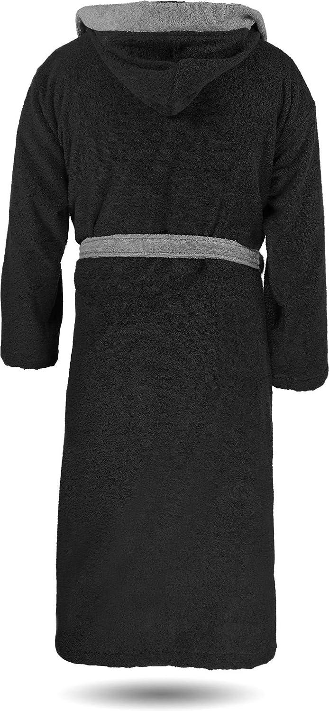 normani 100% Baumwoll Bademantel Saunamantel zweifarbig und einfarbig mit und ohne Kapuze für Damen und Herren [Gr. XS - 4XL] Schwarz/Grau