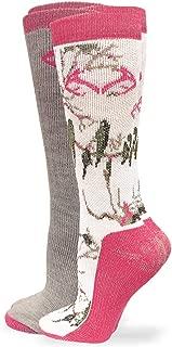 Merino Wool Snow Camo Outdoor Mid Calf Boot Socks 2 Pair Pack