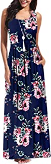 BBX Lephsnt Sleeveless Maxi Dresses for Women, Crew Neck Summer Floral Casual Long Dresses with Pockets