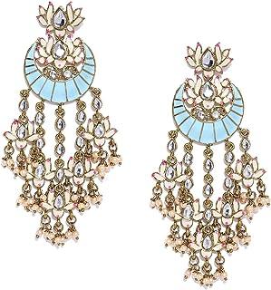 Zaveri Pearls Lotus Design Enamelled Dangle Earring For Women-ZPFK8783