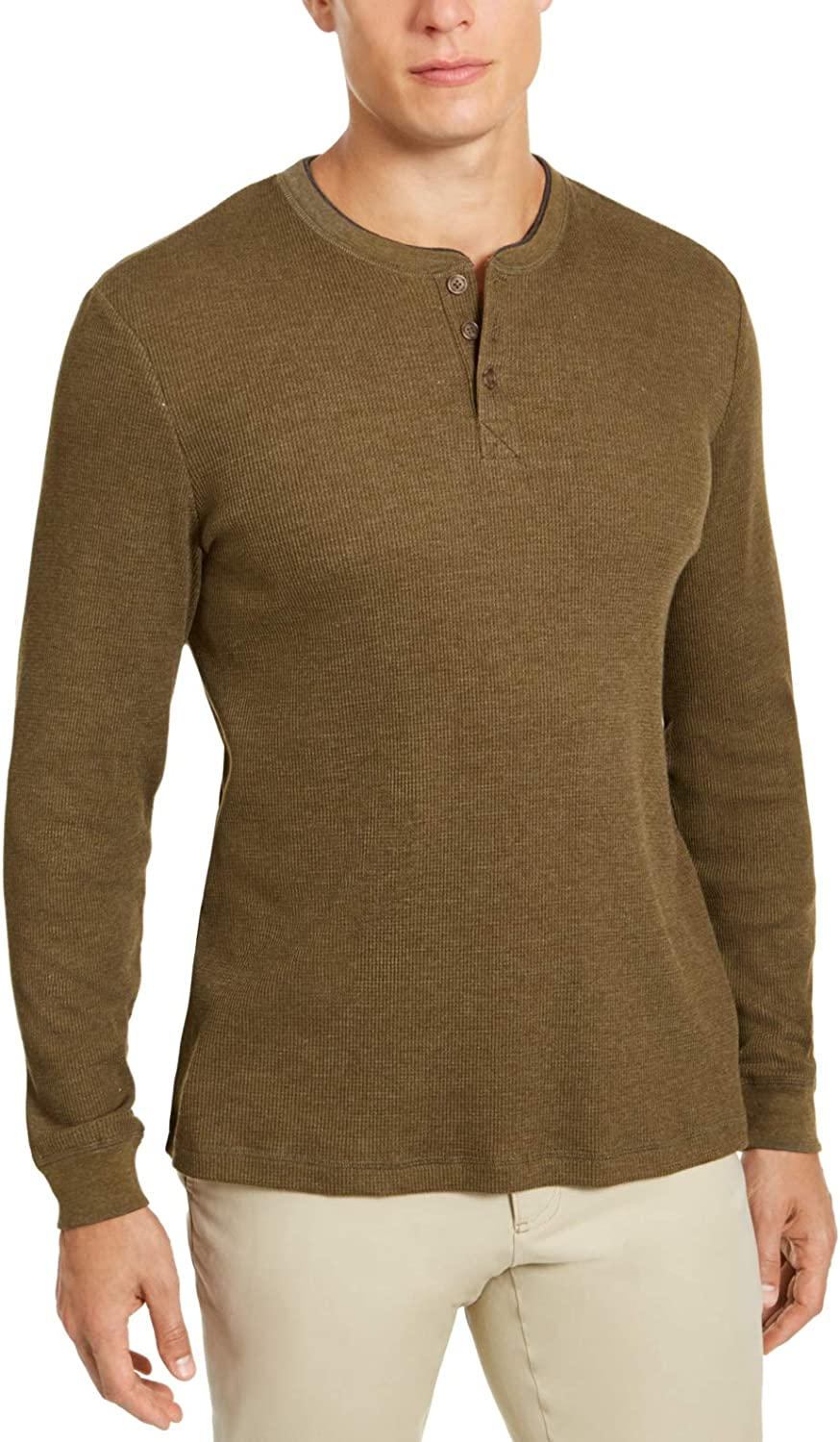 Club Room Mens Shirt Olive Waffle Knit Thermal Henley Green 2XL