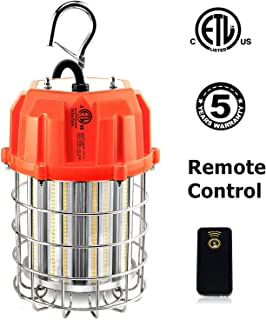 LED Temporary Work Light, 100W Remote Control LED Construction Lighting with 10ft Cord Outdoor Portable Hanging Workshop Job Site High Bay Light - 14500Lm, 5000K, ETL Listed, 400W HID/HPS Replacement