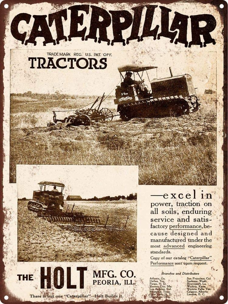 ELEtina Decor New 1920 Caterpillar Tractor Crawler Man Cave Wall Art for House, Home Or Business, 8 X 12 Inches, Vintage Metal Tin Sign