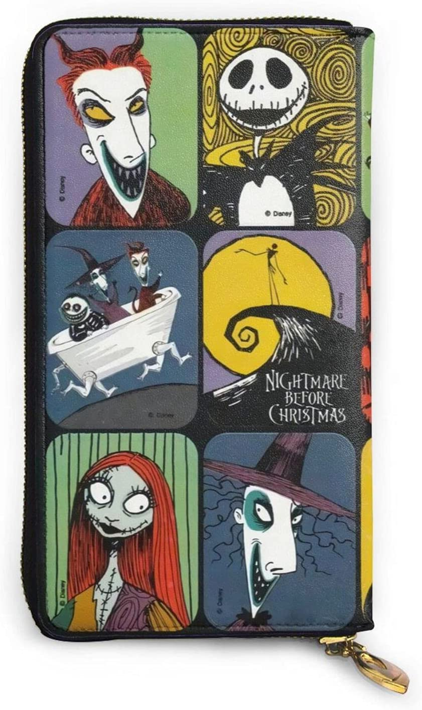 The Nightmare Before Christmas Animation Coin Purse Zipper Wallet Cartoon Classic Popular Leather Craft Card Case Advanced Waterproof Wallet Luxury Fashion Wallet Suitable for Girls, Women, Men