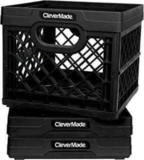 CleverMade Collapsible Milk Crates, 25L Plastic Stackable Storage Bins CleverCrates Utility Folding Baskets, Pack of 3, Black