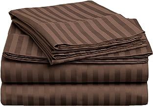 طقم ملاءات سرير من 3 قطع من القطن الممشط الممتاز بنسبة 100% بكثافة 400 خيط من Superior ، مخطط، مزدوج XL - Mocha