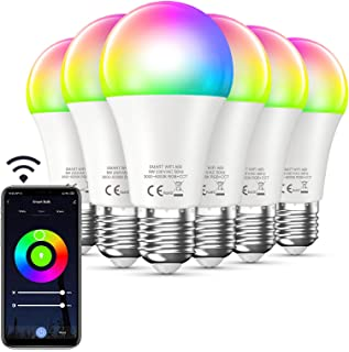 Bewahly Lampadina Alexa [6 Pezzi], E27 9W Lampadina WiFi Intelligente Led, RGB Colorate Smart Lampadine, Dimmerabile Multi...