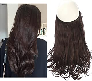 Chocolate Hair Extensions Halo Secret Invisiable Flip Hidden Wire Crown Brown Natural Curly Long Synthetic Hairpiece For Women Heat Temperature Fiber SARLA 18