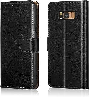 حافظة Belemay لهاتف Samsung Galaxy S8، حافظة محفظة من الجلد الأصلي، غطاء قلاب من جلد البقر الممتاز مع إغلاق مغناطيسي، مسند...