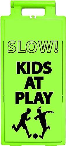 "Cortina Lamba 2x4 Safety Sign""Slow Kids at Play"" 25""x11.5""x1.5"", 03-600-60L, Lime"