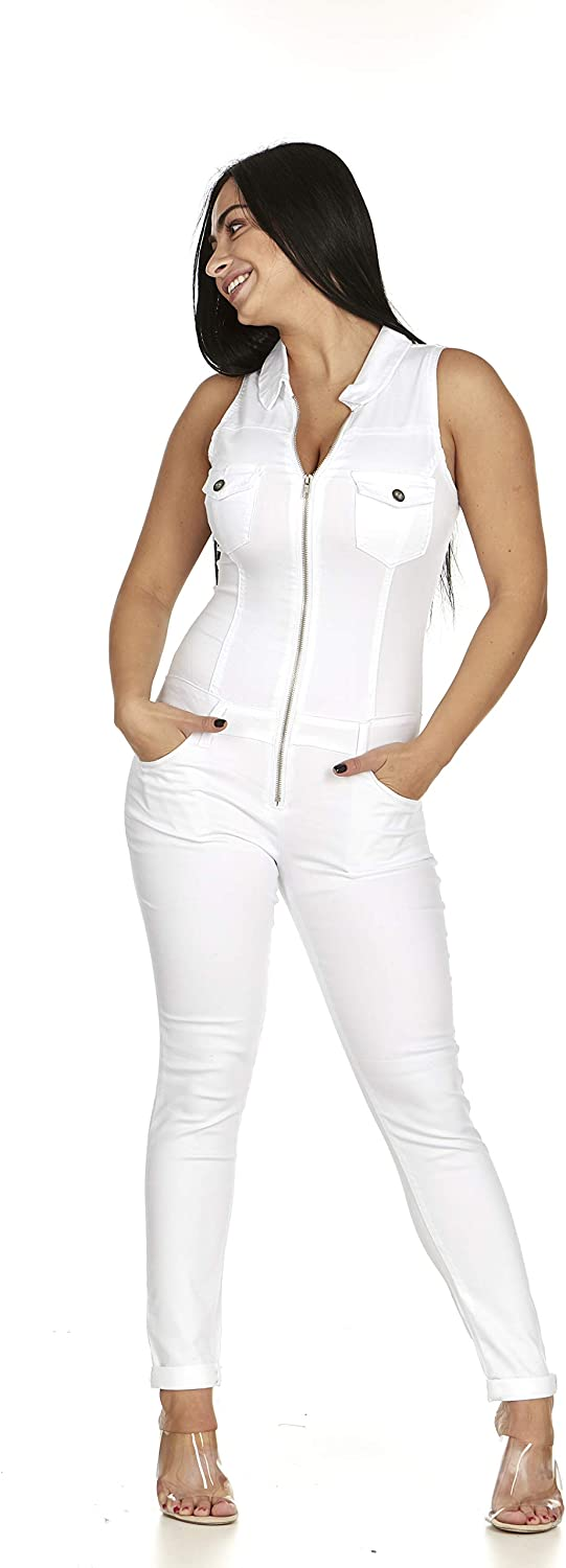 Fit Sleeveless Solid White Denim Overall Jumpsuit Full Body Skinny Jeans for Juniors Plus Size
