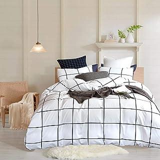 Sacebeleu Bettwäsche Kariert 135x200cm Schwarz Weiß Gitter Karo Geometrisch Wendebettwäsche Set Moderne Bettbezug und Kiss...