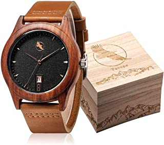 Wood Watches for Men Women, Bamboo Wood Leather Quartz Wristwatch in Engraved Box
