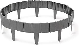 comprar comparacion Relaxdays Borde de cesped, 10 x 250 x 2 cm, Flexible de plastico con Estilo de Piedra para cesped de Jardin, 10 Piezas de ...