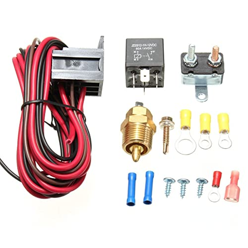 Amazingli 175 to 185 Degree Cooling Fan Thermostat Kit Temp Sensor Temperature Switch 40 AMP Relay