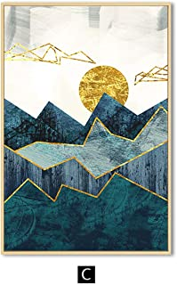lovehouse21 Nordic Abstract Geometric Mountain Landscape Wall Art Canvas Painting Golden Sun Art Poster Print Wall Picture for Living Room,50X70Cm No Frame,C