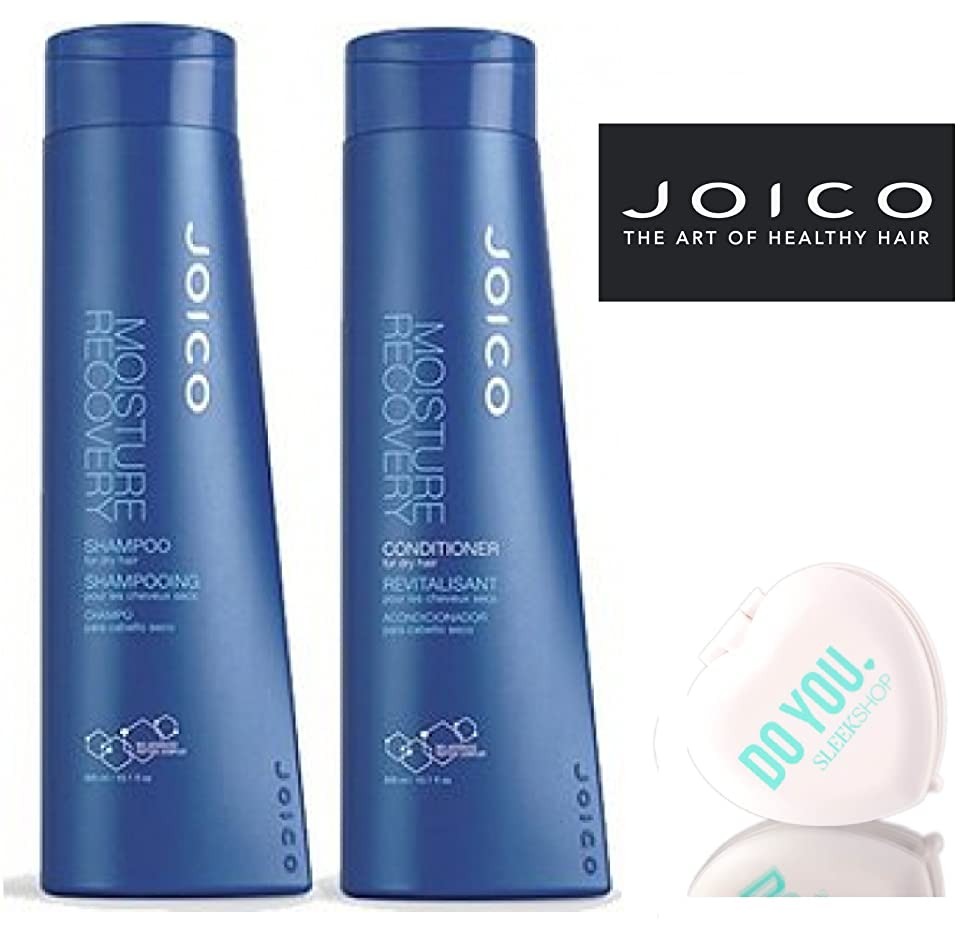 Joico Moisture Recovery Shampoo & Conditioner for dry hair DUO Set (with Sleek Compact Mirror) (10.1 oz / 300ml DUO Kit)