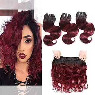 Body Wave Red Wine Human Hair 3 Bundles 1b 99j Two Tone Hair Mink Brazilian Body Wave Short Weave Unprocessed Virgin Soft Bob Wavy Hair 50g/Bundle (Ombre Burgundy Color, 10 10 10 Inches)