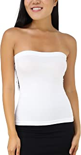 Women's Seamless Bandeau Tube Top Ribbed Without Pad