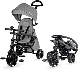 Kinderkraft Tricycle JAZZ, Baby Push Trike, Pushchair, 4 in 1, Compact Folding, Free Wheel Functions, with Sun Canopy, Par...