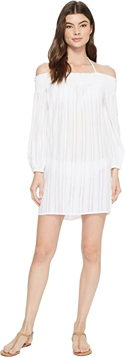 Dobby Smock Neck Off the Shoulder Tunic Cover-Up