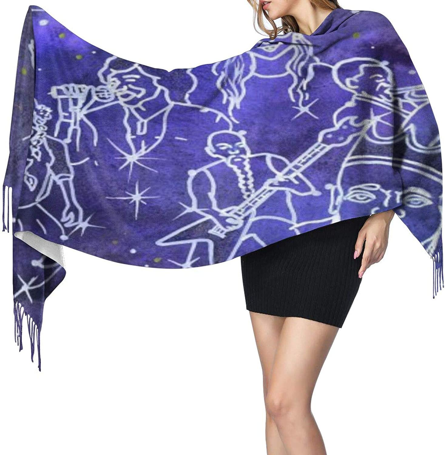 Cashmere fringed scarf Star Sign Music winter extra large scarf