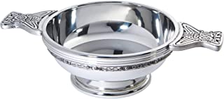 Wentworth Pewter - Large Celtic Band Pewter Quaich Whisky Tasting Bowl Loving Cup Burns Night