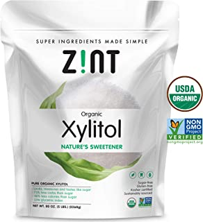 Zint Organic Xylitol Sweetener (5 lbs): USDA Certified Natural Sugar Free Substitute, Non GMO, Low Glycemic Index, Measures & Tastes Like Sugar, 80 Ounce