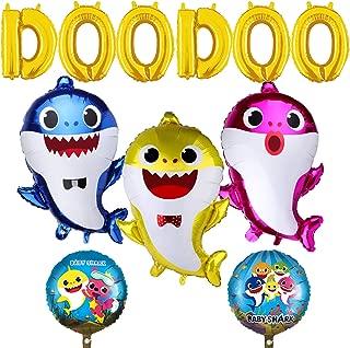 "Baby Cute Shark Party Supplies, 11 PCS Shark Balloons for Baby Birthday Decorations Birthday Doo Doo Party Balloons Set, 3 pcs Baby Shark Family Balloons, 2 pcs Shark Round Balloons and 6 pcs ""DOODOO"" Balloons"