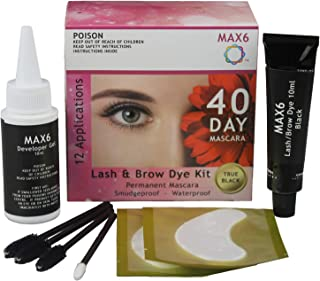 MAX6 Eyelash & Brow Dye/Tint Kit Permanent Mascara (Black) with accessories
