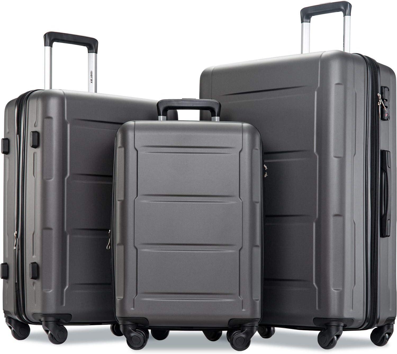 Merax Luggage Set 1 year warranty with High quality new TSA Lock Piece All Expandable Hardshel 3