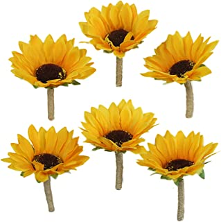 Lily Garden Artificial Calla Lily Sunflower and Peony Flower Wedding Bouquets (boutonnieres x 6)