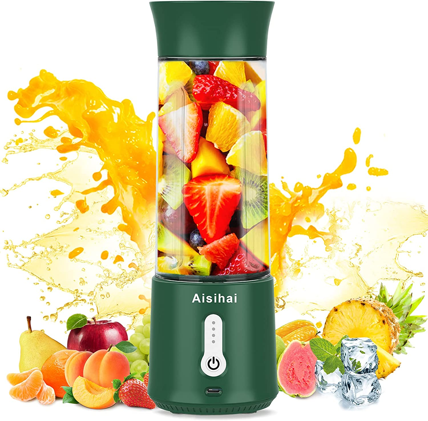 Portable Blender for Shakes and Smoothies,18 Oz Personal Blender ,150W Powerful Smoothie Blender with Rechargeable USB,4000mAh Mini Blender cup for Juice Crushed Ice Sports Travel,with 6 Blades