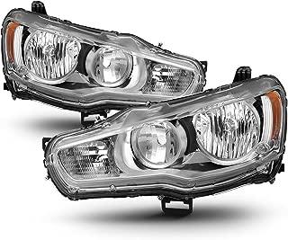 ACANII - For 2008-2017 Mitsubishi Lancer EVO X Headlights Headlamps w/Chrome Bezel Driver + Passenger Side