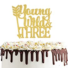 Young Wild and Three Cake Topper, Double Sided Gold Glitter 3rd Birthday Cake Decorations Tribal Third Birthday Party Decorations