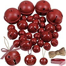 Winlyn 30 Pcs Burgundy Jingle Bells with Star Cutouts Christmas Metal Sleigh Bells Rustic Craft Bells for Christmas Tree Wreath Garland Ornaments Holiday DIY Decorations Assorted Sizes 1.6