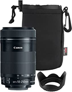 Canon EF-S 55-250mm F4-5.6 is Mark II Lens for Canon SLR Cameras + 58mm Polaroid Tulip Lens Hood + Ritz Gear Large Neoprene Protective Lens Pouch Bundle