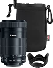 Canon EF-S 55-250mm F4-5.6 is Mark II Lens for Canon SLR Cameras + 58mm Polaroid Tulip Lens Hood + Ritz Gear Large Neoprene Protective Lens Pouch Bundle
