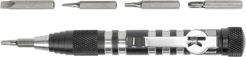 Kershaw TX-Tool (TXTOOL)؛ 4.8 اینچ درایو بیت مغناطیسی چند منظوره تک موقعیت شامل T-6، T-8، T-10، 2 Phillips و بیت Screwdriver Slotted؛ دستگیره سبک آلومینیومی؛ کلیپ جیبی؛ 1.1 اونس