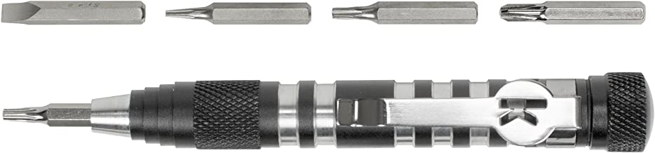 Kershaw TX-Tool (TXTOOL); 4.8 in. Single-Position Multifunction Magnetic Bit Driver; Includes T-6, T-8, T-10, 2 Phillips and Slotted Screwdriver Bit; Lightweight Aluminum Handle; Pocket Clip; 1.1 oz.